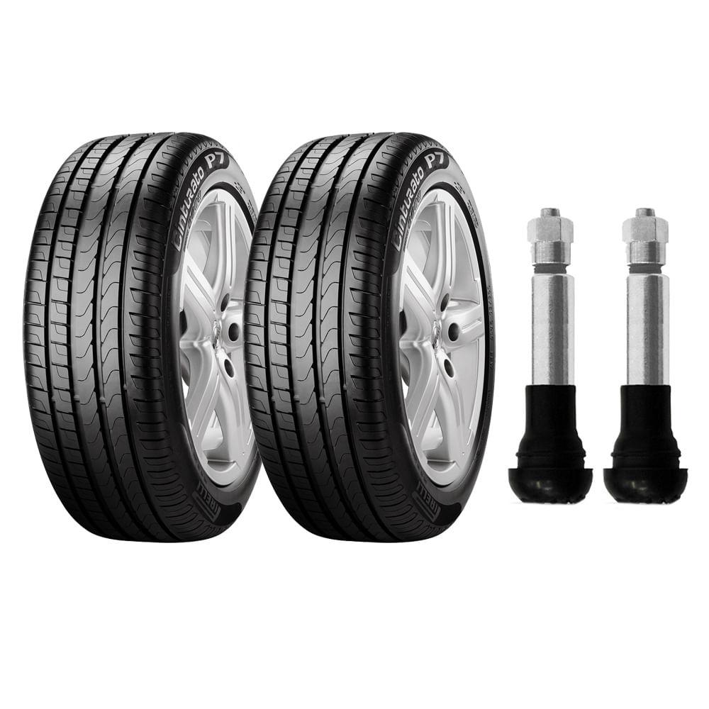 kit com 2 pneus pirelli aro 16 195 50r16 cinturato p7 84h e 2 bicos de press o cromados. Black Bedroom Furniture Sets. Home Design Ideas