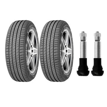 Kit com 2 pneus Michelin aro 16 - 205 / 55R16 - Primacy 3 - 91V ( Lançamento Michelin ) e 2 bicos de pressão cromados para pneu