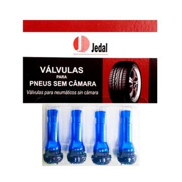 Kit-com-4-pecas-de-Bico-de-pressao-azul---Valvula-de-pneu-----TR414